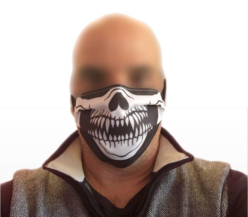 masque barriere imprimé squelette réutilisable lavable