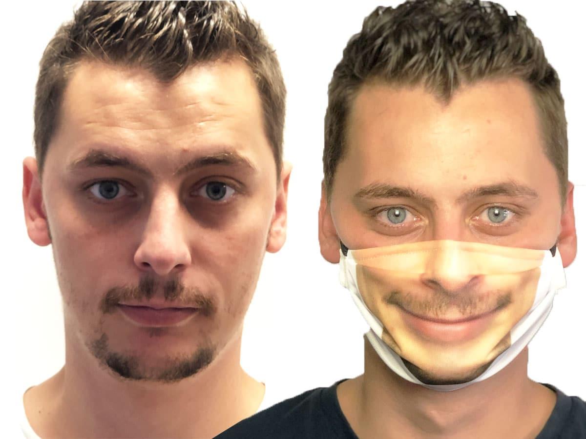 masque barrière personnalisable avec son propre visage catégorie 1 lavable certifié DGA
