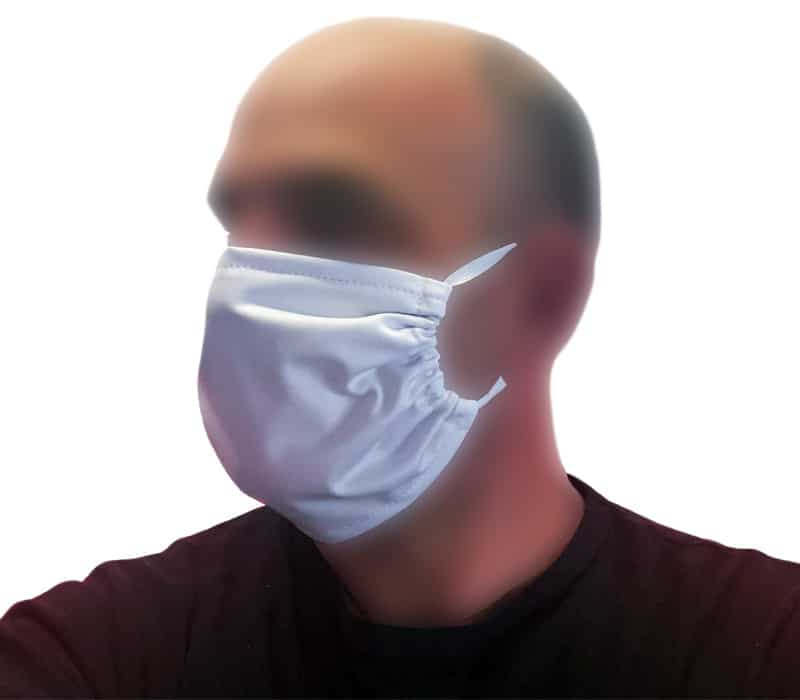 Masque tissu lavable textile blanc stretch
