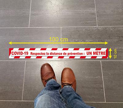 Sticker de sol Covid magasin 100x10cm